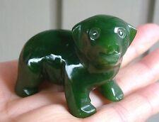"2"" Canadian Top Grade Jade Carved Dog Puppy Figurine Display"