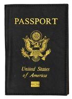 New Black  USA Passport Cover Holder Wallet Travel Case