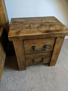 Pair of Solid Reclaimed Wood Bedside Drawers