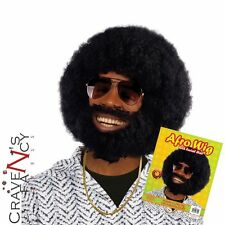 Mens Black Afro Wig Beard Facial Hair 1970s Disco Fancy Dress Lionel Accessory