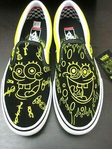 Vans x Spongebob Gigliotti Men's Skate Slip On Shoes Black Yellow Size 10 NIB