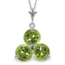 0.75 CTW 14K Solid White gold fine Hand In Hand Peridot Necklace 20""