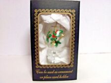 NEW ITALIAN GLASS ORNAMENT OR PLACE CARD HOLDER RARE DELICATE & PRETTY HOLLIES ?