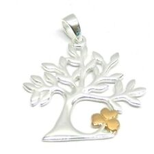 925 Sterling Silver Tree of Life Style Pendant with Rose Gold plated Flower