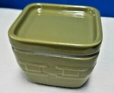 Longaberger china Woven Traditions square baker and lid sage green 4""