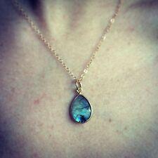 14K Gold-filled or Sterling Silver Labradorite Stone Tear Drop Pendant  Necklace