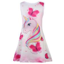 Unicorn Butterfly Girls Kids Children Summer Sleeveless Party Princess Dress