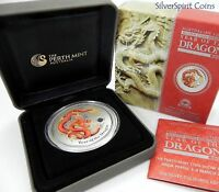 2012 YEAR OF THE DRAGON ANDA 2oz Lunar Perth Coin Fair Issue Silver Coin