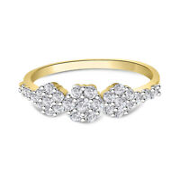 10k Yellow Gold Fn Round Cut Diamond Three Step Flower Cluster Wedding Ring 2 Ct