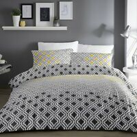 Dreams & Drapes IKAT Duvet Cover Bedding Set Grey Yellow White Bed Linen Printed