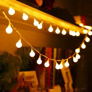 100LED 10M Globe Bulb Ball Fairy String Lights Mains Plug in Garden Outdoor Xmas