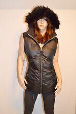 New $150 Michael Kors Reversible Down Vest Faux Fur Detachable Hood Black/Gold L