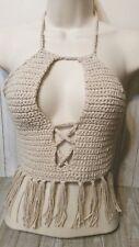 Beige tan tassels boho beach bra bikini summer crop top crochet womans handmade