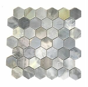 "Genoa Blue 2"" Hexagon Polished Marble Mosaic Wall And Floor Tile Backsplash Bath"