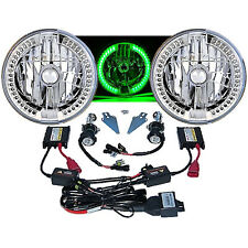 "7"" HID Green LED Halo Ring Angel Eye Headlight 6000K 6K Light Lamp Bulb Pair 501"