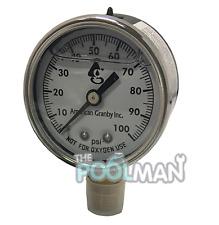 "Water Well Pump Liquid Filled Side Mount Pressure Gauge 0 to 100 PSI, 1/4"" MNPT"