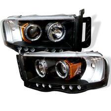 Dodge 02-05 Ram Black Dual Halo LED Projector Headlights Head Light Lamp