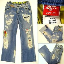 MISS 60 LUXURY Cropped Jeans Distressed Blue Cotton Sz 25 XS Lining Silk Italy