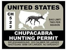 Chupacabra Hunting Permit - UNITED STATES (Bumper Sticker)
