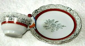 VTG. CHILD'S TOY CERAMIC TEA CUP & SAUCER * BIRD ON HANDLE * SILVER OR GOLD TRIM