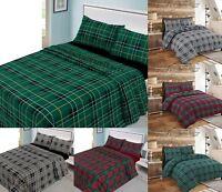 Tartan Check Warm Flannelette 100% Cotton Brush Thermal Duvet Cover Or Sheet Set