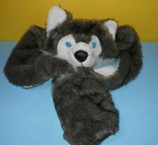 Claire's Light-Up Blue Eyes Arctic Wolf Cap Hat Plush Long Hands