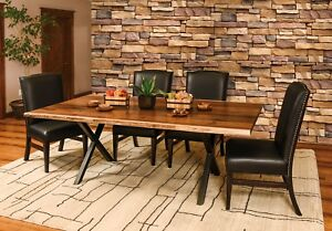 7-Pc Set Amish Trestle Dining Table Chairs X Metal Base Solid Wood Live Edge