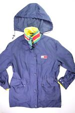 TOMMY HILFIGER Vintage 90s Blue RainCoat Jacket Spell Out Windbreaker Size Small