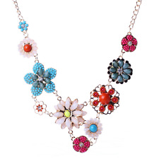 Charm Women Gold Chain Colorful Resin Flower Pendant Choker Chunky Bib Necklace