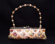 BEADED PURSE, Beige Fabric Beaded Sequin Clutch Evening Purse Shoulder Bag