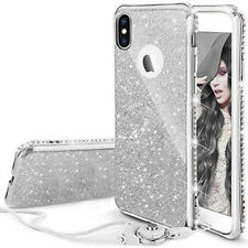 For iPhone X Crystal Case Girls Glitter Bling Diamonds Soft Cover  + Lanyard