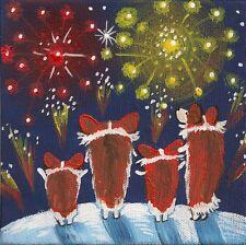 4x4 Print Of Painting Ryta Pembroke Welsh Corgi Folk Art Fireworks New Year Xmas