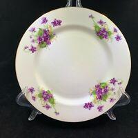 "Clarence Fine Bone China purple pansies pattern dainty salad 8"""" plate"