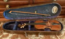 """Antique violin, 11"""" long, w/ case and bow, and (??) maker's photograph."""