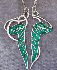 SPLIT Elven Leaf Brooch 2 NECKLACE SET Hobbit LOTR Lord of The Rings FRIENDSHIP