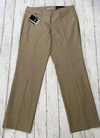 New NIKE Women's Golf Dri-Fit Pants, Size 12, Tan, Flat Front, MSRP $90! NWT
