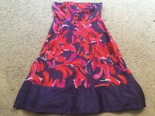THE LIMITED Red Purple Floral Strapless Mini Casual Summer Sun Dress womens 4