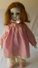 "Vintage Bisque Girl Doll 14"" Dressed Pink Stripe Dress and Shoes"