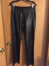 1976)  CACHE sz 4 black leather mid rise pants boot cut lined front zip