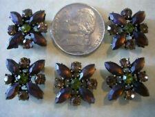 2 Hole Slider Beads X-Flower Brown/Sm Topaz Crys Made w/Swarovski Elements #5