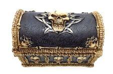 Tribal Skull Treasure Chest Trinket Box Skull Bones Jewelry Stash Box Halloween