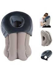 Inflatable Head Rest Pillow Portable With Travel Bag & Slip Cover