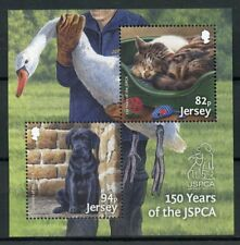 Jersey 2018 MNH JSPCA 150 Years 2v M/S Dogs Cats Swans Birds Stamps