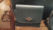COACH F15622 Glitter Crossgrain Leather  Teal  Wallet