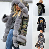 2018 WOMENS WINTER WARM THICK FAUX FUR COAT LADIES CAMO HOODED PARKA LONG JACKET