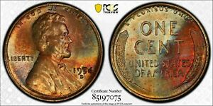 1954-D LINCOLN WHEAT PENNY CENT PCGS MS64RB UNC MONSTER TONED BU BOLD COLOR