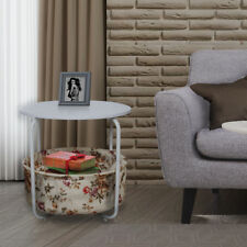 STYLE HOME Table d'appoint basse Corbeille en tissu MDF métal blanc