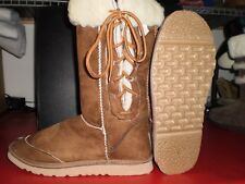 Mens Size 6 Lace up Ugg Boots Wool Blend Chestnut