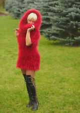Red furry mini dress mohair long pile decofur made to order outfit 2 piece knit