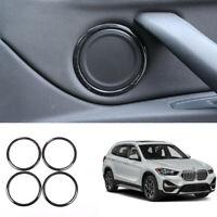For BMW X1 2016-2020 F48 black wood grain inner door speaker ring cover trim 4pc